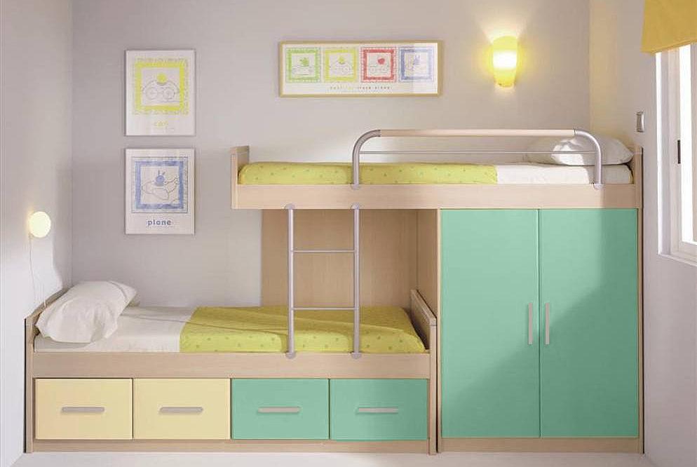 Habitaciones infantiles con poco espacio - Habitaciones infantiles dobles poco espacio ...